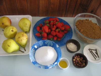 Ingrédients pour la recette : Confiture de poires et fraises