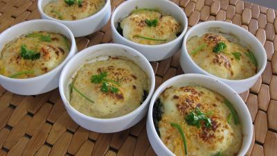 Oeufs mollets : Cassolettes d'oeufs mollets à la florentine