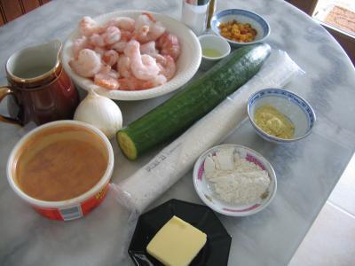 Ingrédients pour la recette : Crevettes au curcuma