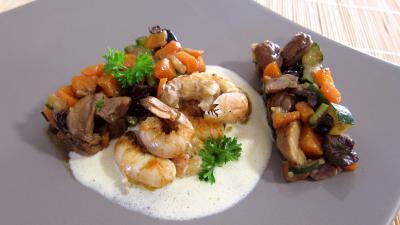floc de gascogne : Assiette de langoustines et sa sauce au floc de Gascogne