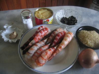 Ingrédients pour la recette : Crevettes aux pousses de bambou