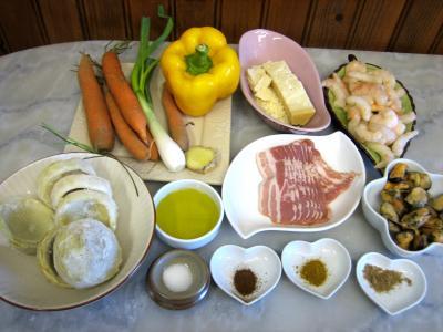 Ingrédients pour la recette : Crevettes et moules aux artichauts