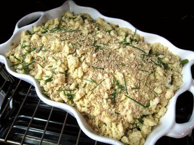 Crumble aux haricots verts et sa crème d'ail - 13.4