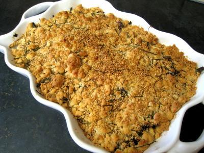 Recette Crumble aux haricots verts et sa crème d'ail