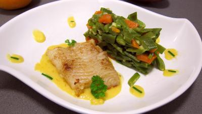Mangue en sauce : Plat de flétan et sa mangue en sauce