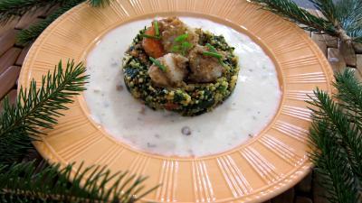 plat complet : Assiette de chorizo, quinoa et coquilles Saint-Jacques