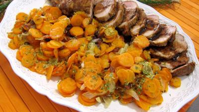 plat complet : Assiette de porc aux carottes et sa sauce aux clémentines