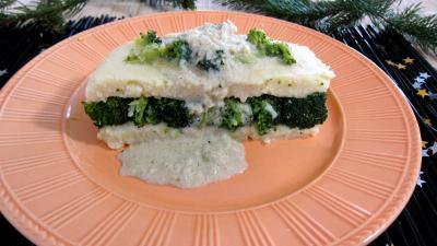 fond de volaille : Assiette de farci de brocolis à la polenta