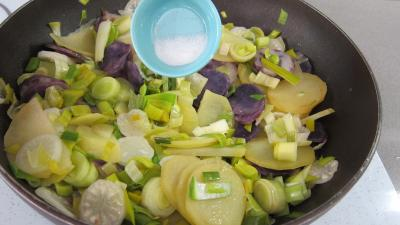 Vitelottes et légumes aux filets de dinde panés - 8.4
