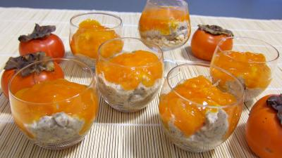 Image : Verrines de kakis en trifle aux amandes
