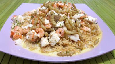 Image : Assiette de crones et églefin en risotto