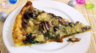 Recette Pizza aux épinards et aux champignons