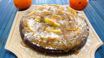 marquises : Plat d'une marquise au chocolat et aux oranges