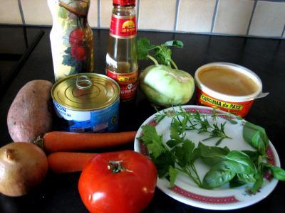 Ingrédients pour la recette : Thon au chou-rave et cerises