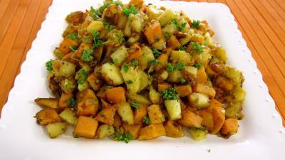 Recette Assiette de panais et patates douces aux épices
