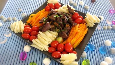 Vinaigrette à l'orange : Assiette d'alumettes de carottes et topinambours en salade