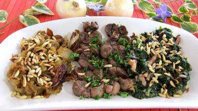 Abats : Plat de compotée d'oignons et d'épinards et son rognon de veau