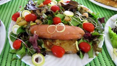 Recette Assiettes de roulades de saumon fumé et sa salade