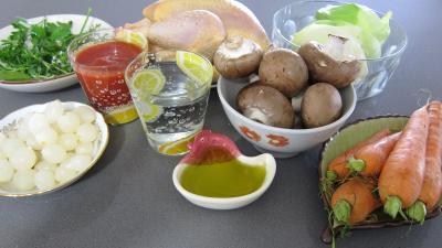 Ingrédients pour la recette : Faisan au chou et aux carottes