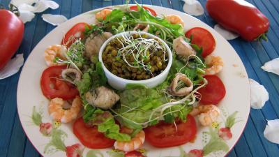 dalh : Assiette de salade tiède de poisson