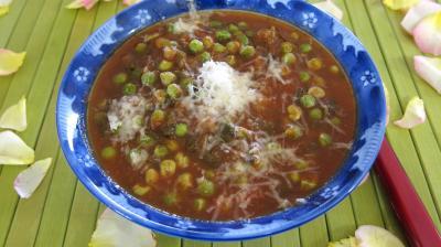 Recette Ramequin de sauce tomate aux petits pois
