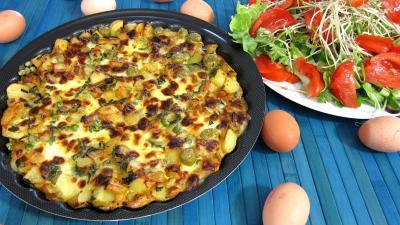 Recette Frittata aux pommes de terre et petits pois