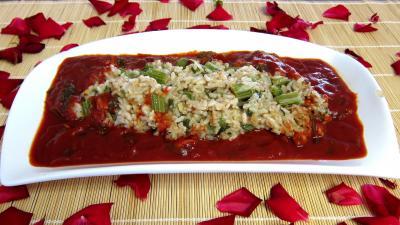 risotto : Plat de risotto de cardon et sa sauce tomate
