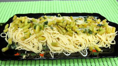 Recette Pâtes spaghettis aux haricots beurre