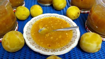 Image : Coupelle de compote de prunes blanches aux noisettes