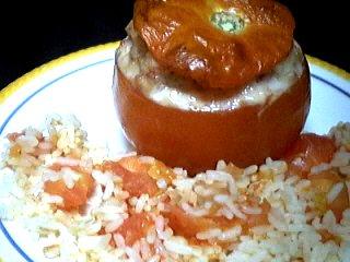 recettes farcies : Assiette de tomates farcies au jambon