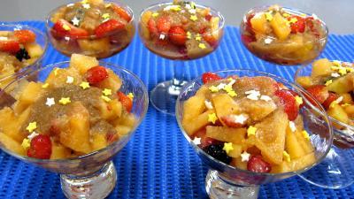 Recette Coupe de melon en salade au caramel