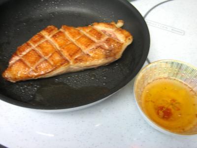 Magret au caramel et aux amandes et sa polenta aux pruneaux - 11.4