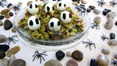 Image : recette Fondue de poireaux aux oeufs fantômes