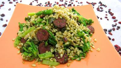 blé : Assiette de blé aux brocolis et aux pistaches