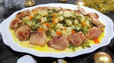 plat complet : Assiette de filet mignon de porc aux topinambours