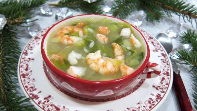 Cuisine diététique : Bol de soupe de riz aux gambas et ognasses
