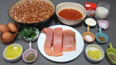 Ingrédients pour la recette : Saumon aux flans de cocos