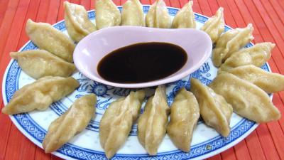 crustacés : Assiette de dim sum aux gambas à la farine de froment