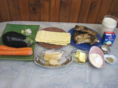 Ingrédients pour la recette : Restes de travers de porc à l'aubergine