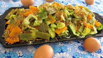 Entrées froides : Plat d'haricots plats en salade