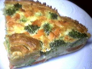 Cuisine diététique : Part de quiche aux brocolis et saumon
