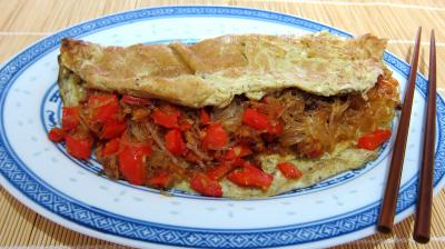 huile végétale : Plat d'omelette végétarienne à la chinoise