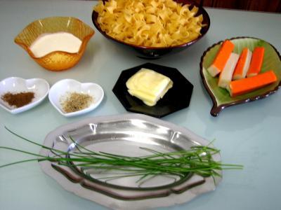 Ingrédients pour la recette : Tagliatelles au surimi