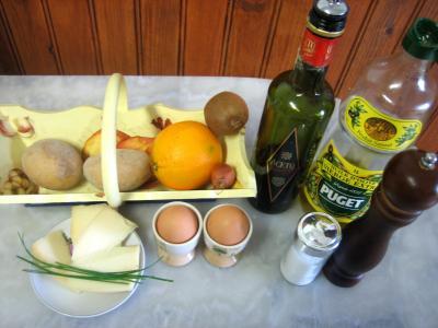 Ingrédients pour la recette : Salade de kiwis à l'orange