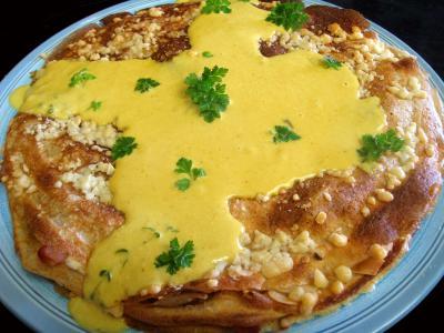 fromage de brebis : Gâteau de crêpes au sarrasin et aux fromages