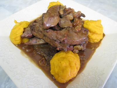 Foie de veau aux raisins secs et au potimarron - 14.3