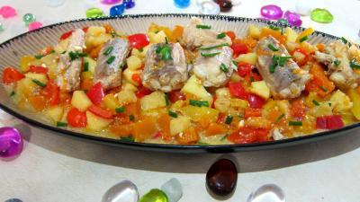 plat complet : Plat de roussette aux poivrons
