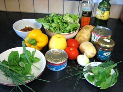 Ingrédients pour la recette : Salade de thon et poivrons