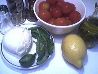 Ingrédients pour la recette : Tomates-cerises à la mozzarella