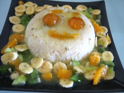 Image : recette Gâteau de riz farci et sa salade de fruits
